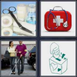 4 pics 1 word 3 letters medical case