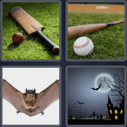 4 pics 1 word 3 letters baseball bat