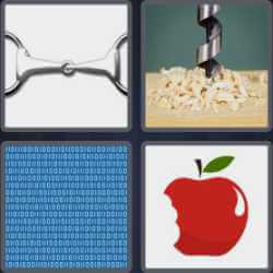 Four pics one word drill wood handcuffs code