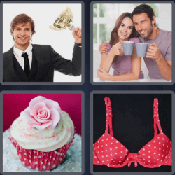 4 pics 1 word cupcake bra guy with trophy