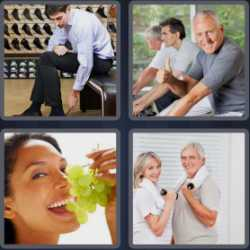4 pics 1 word grapes man putting on shoe