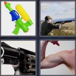 4 pics 1 word man shooting with a shotgun