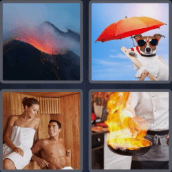 4 pics 1 word dog with umbrella pan on fire
