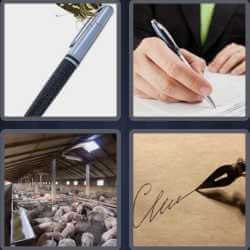4 pics 1 word signing paper