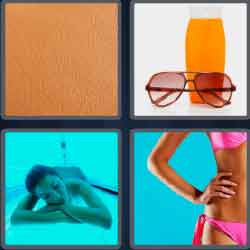 Four pics one word tanner, sunglasses, woman with a pink bikini, sand, skin, women tanning