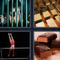 4 pics 1 word gold jail chocolate gymnast