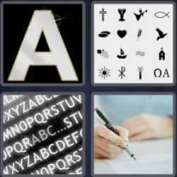 4 Pics 1 Word 4 Letters Font