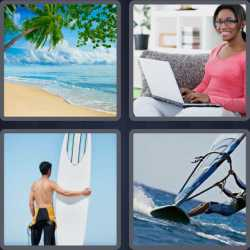 4 Pics 1 Word 4 Letters Surf