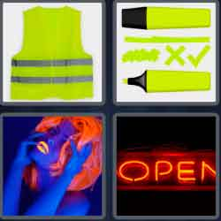 4 Pics 1 Word 4 Letters Neon