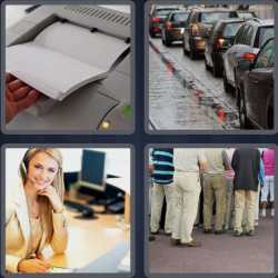 4 Pics 1 Word 5 Letters Queue