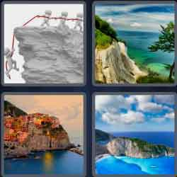 4 Pics 1 Word 5 Letters Cliff