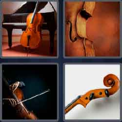 4 pics 1 word 5 letters string instrument