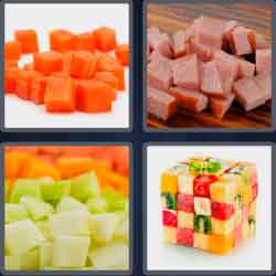 4 pics 1 word 5 letters chopped vegetable