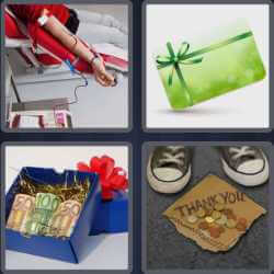 4 Pics 1 Word 6 Letters Donate