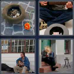4 pics 1 word 6 letters street musician