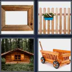4 pics 1 word 6 letters wooden cart