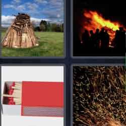 4 Pics 1 Word 7 Letters Bonfire