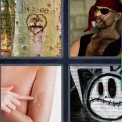 4 Pics 1 Word 7 Letters Scarred