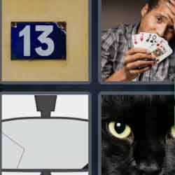 4 Pics 1 Word 7 Letters Unlucky