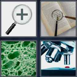 4 pics 1 word 7 letters magnifying glass