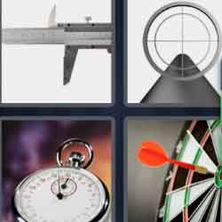 4 pics 1 word 8 letters chronometer, target, telescopic sight