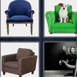 4 pics 1 word 8 letters dog in armchair, woman sitting