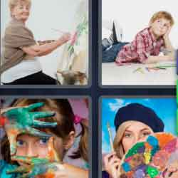 4 pics 1 word 8 letters woman painting, painter, girl with painted hands