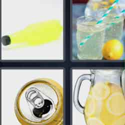 4 pics 1 word 8 letters Lemonade