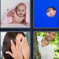 4 pics 1 word 8 letters Peekaboo