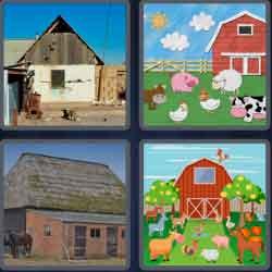 4 pics 1 word 8 letters barnyard