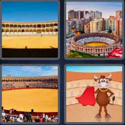 4 pics 1 word 8 letters bullring