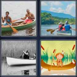4 pics 1 word 8 letters canoeing