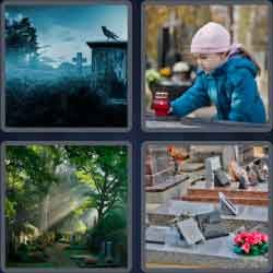 4 pics 1 word 8 letters cemetery