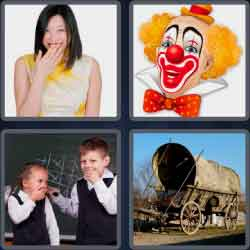 4 pics 1 word 8 letters chuckles