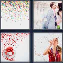 4 pics 1 word 8 letters confetti