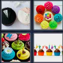 "4 pics 1 word 8 letters cupcakes"" width="