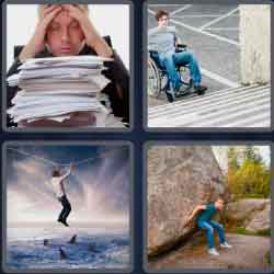 4 pics 1 word 8 letters daunting