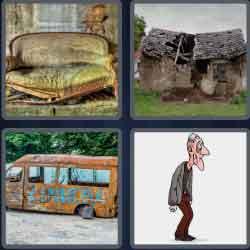 4 pics 1 word 8 letters decrepit