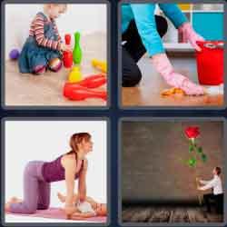 4 pics 1 word 8 letters kneeling