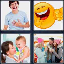 4 pics 1 word 8 letters laughter
