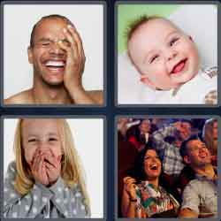 4 pics 1 word 8 letters people laughing