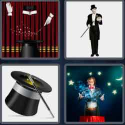 "4 pics 1 word 8 letters magician"" width="