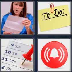 4 pics 1 word 8 letters reminder