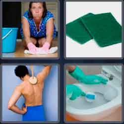 4 pics 1 word 8 letters scrubber