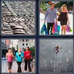 4 pics 1 word 8 letters sidewalk