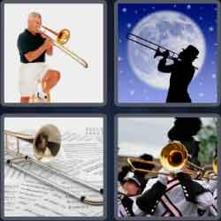 4 pics 1 word 8 letters trombone