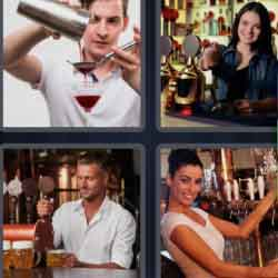 4 Pics 1 Word 9 Letters Bartender